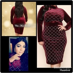 d0f9832c84f23 Wild Rose Pumps Plus Size Bodycon Velvet with Studs Dress ...